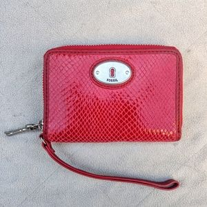 NWT Fossil Red Snakeskin Wallet with Keychain